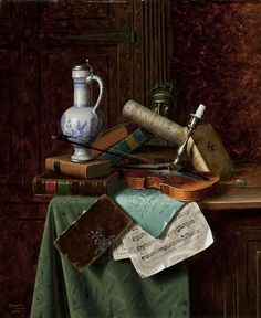 William Michael Harnett Still Life with Dutch Jar and Bust of Dante 1884