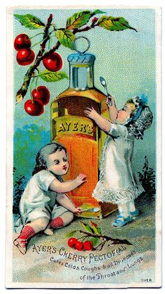 French Trade Cards Vintage | Antique Trade Card Clip Art - Cherry Medicine - The Graphics Fairy