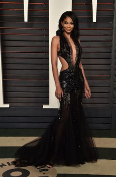 Pin for Later: Don't Miss 1 Single Look From the Oscars Afterparties Chanel Iman Wearing a sexy black cutout gown at Vanity Fair's Oscars party. Chanel Iman, Black Celebrities, Celebs, Celebrities Fashion, Celebrity Red Carpet, Celebrity Style, Oscars, Vogue, Vanity Fair Oscar Party