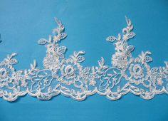 white alencon lace trim wedding veil bridal lace trim  by PKiss, $6.50