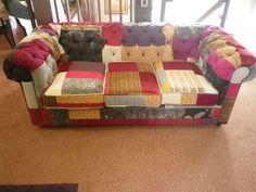 canap 3 places tissu chesterfield patchwork arlequin tons cr me bleu ciel et anthracite. Black Bedroom Furniture Sets. Home Design Ideas