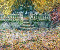 The Terrace, Autumn, Geberoy - Henri Eugène Le Sidaner (French: 1862-1939)