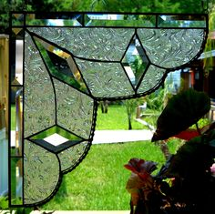 Stained Glass Lace Curtain PAIR Gingerbread Trim Corners or Room Dividers. $89.95, via Etsy.