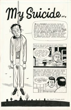 """Original art by Daniel Clowes from the three-page strip, """"My Suicide…"""" from Eightball published by Fantagraphics, May 1992 Daniel Clowes, Paul Cadmus, Mr Nice Guy, Love And Rockets, Comic Boards, Rene Gruau, Milton Glaser, Book Creator, Comic Book Pages"""