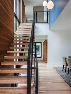 Modern Lake House Rebuild Project in Stunning Appearance : Exciting Floating Staircase Design Enchanted Island Modern Interior