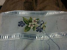 Toalla con flores azul