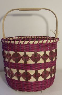 CHEROKEE BUCKET BASKET  wooden base Oak handle
