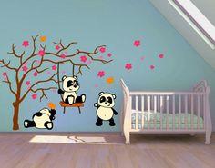 Panda Friends Nursery wall decal, sticker, mural, vinyl wall art