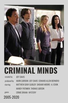 Criminal Minds Funny, Criminal Minds Cast, Iconic Movie Posters, Iconic Movies, Crimal Minds, Film Poster Design, Movie Prints, Minimal Poster, Matthew Gray Gubler