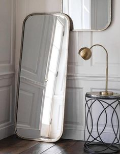Malcolm leaner rectangular floor mirror with metal frame, perfect way to add personal style, warmth and the illusion of light and space to your home. Silver Framed Mirror, Decor Interior Design, Modern Living Room Interior, Leaner Mirror, Metal Frame, Light And Space, Glass Mirror, Mirror, Full Length Mirror