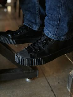 00a5b2f85a8e02 PF Flyers Sandlot Center LO - Black - Leather. Shoes for Crews