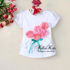 Wholesale Baby Girls  T Shirts Childrens Babys Shirt Short Sleeve White With Beautiful Flowers Top For Summer WearGT30105 20^^HK-in Tees from Apparel  Accessories on Aliexpress.com $39.15