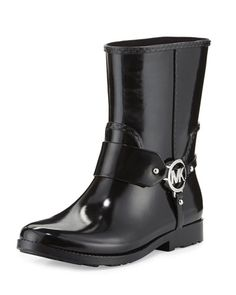 MICHAEL MICHAEL KORS FULTON HARNESS SHORT RAIN BOOT, BLACK. #michaelmichaelkors #shoes #boots
