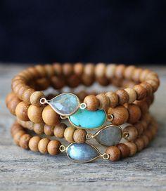 Sandalwood Boho Bracelets Labradorite Turquoise