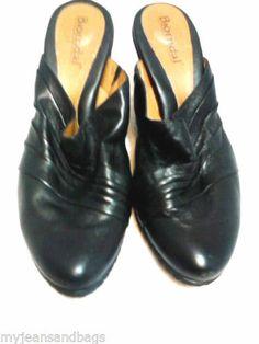 Bjorndal Black Leather Mules Womens Shoes 7M