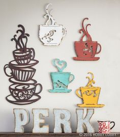 Need a caffeine boost? So do we! Get your one-stop-coffee-shop up and running with perky, coffee-themed metal wall décor!