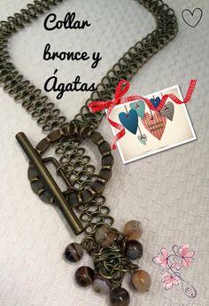 Collar de bronce con importante cierre y detalle de ágatas