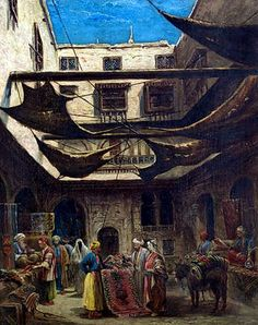 The Carpet Bazaar, Cairo By Edward Goodwyn Lewis (British, 1827-1891)  Oil on canvas 51 x 41cm
