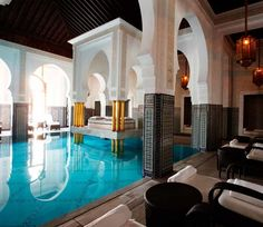 Morocco// The indoor pool at the spa at La Mamounia, Marrakech