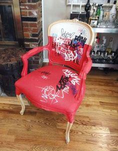 DIY Instructions for Turning a Flea Market Find into a Graffiti Chair Art Furniture, Graffiti Furniture, Funky Painted Furniture, Painted Chairs, Upcycled Furniture, Furniture Makeover, Furniture Design, Graffiti Bedroom, Rococo Furniture