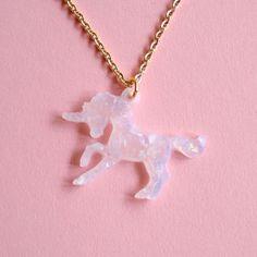 Glitter Unicorn Necklace Opal Unicorn Necklace by FatallyFeminine, $21.00