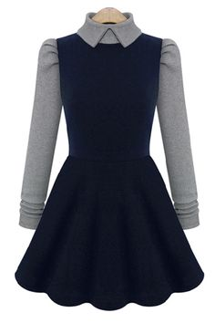 Color Block Turtleneck Dress - OASAP.com
