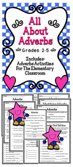 Adverbs - This is a fun filled activity pack to help students learn about adverbs. #tpt #teach #adverbs