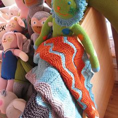 colors of knitting: blankets and stuffed animals