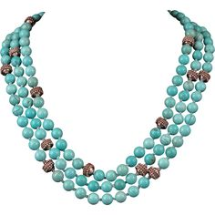 3 Strand Sterling Silver and Turquoise Magnesite Bead Necklace 20""