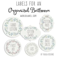 These fabulous labels to help you organize your bath and body products in your bathroom are designed by Ana of Falala Designs.   Free Printable editable Templates