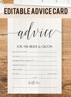 Perfect rustic advice card for your wedding or bridal shower! This elegant script advice game template is so cute :-) #advicecard #weddingadvice // Edit this printable template instantly in user-friendly online design tool // Truly DIY custom design for your perfect wedding: edit all the texts + choose your background, text color & font style! // Including trending wood, marble, chalkboard backgrounds & designer fonts. // Free demo. Click & Try it!