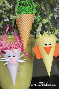 "Another 3-in-1 - ""Printables Plus"" - Post includes Easter Tag/Stickers Printables Plus, No-Bake Chow Mein Noodle Nests & A Cute Easter Cone Craft (Pictured)."