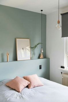 Marvelous Tricks: Chic Minimalist Bedroom Lamps minimalist home inspiration woods.Minimalist Bedroom Interior Sleep minimalist home inspiration house tours.Colorful Minimalist Home Stairs. Bedroom Green, Home Bedroom, Bedroom Decor, Design Bedroom, Calm Bedroom, Mint Bedroom Walls, Blue And Pink Bedroom, Bedroom 2018, Accent Wall Bedroom