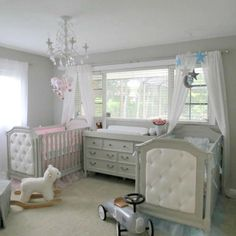 Just add a sweet little boy and a sweet little girl to this gorgeous nursery for twins.
