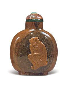 Jasper snuff bottle with a seated monkey, 1736–1795.