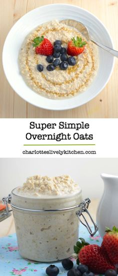 Always in a rush in the morning? Then you need overnight oats. Super simple to prepare and you do it all the night before so theyre ready just when you need them in the morning. Breakfast And Brunch, Brunch Recipes, Breakfast Recipes, Breakfast Ideas, Yummy Food, Tasty, Oatmeal Recipes, World Recipes, Overnight Oats