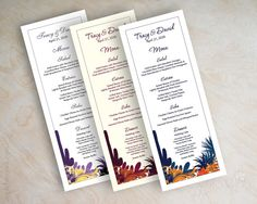 Wedding menu cards, printable wedding menus, diy wedding menus, wedding reception menu, tower menus, tea length menu, desert, cactus, Nevena on Etsy, $25.00