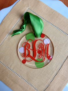 Monogrammed Ornament  3 inch Shatterproof by TheBossyWife on Etsy, $6.50