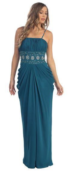 Teal Blue Chiffon Long Dress Floor Length Maxi Curvy Empire Gathered $177.99
