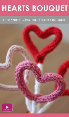 How to Knit a Hearts Bouquet with Free Knitting Pattern + Video Tutorial by Studio Knit