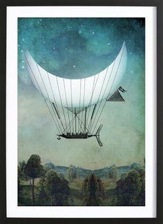 The Moon Ship als Framed Poster door Catrin Welz-Stein | JUNIQE