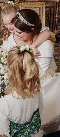 Princess Eugenie has shared a sweet snap, was seen sitting on the floor with her bridesmaids on her beautiful Peter Pilotto wedding dress, while Savannah Phillips, has her arms around Princess Eugenie, as the other bridesmaid Isla Savannah watch on. Royal Wedding Gowns, Royal Weddings, Wedding Bride, Wedding Dress, Princess Eugenie Jack Brooksbank, Princess Margaret, Sarah Duchess Of York, Duke And Duchess, Queen Elizabeths Sister