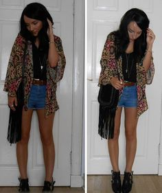 Kaleidoscope Kimono, denim shorts, cut out boots