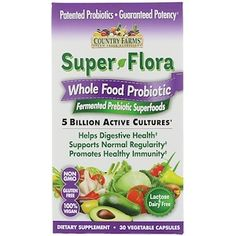 Country Farms, Super Flora, Whole Food Probiotic, Fermented Prebiotic Superfoods, 30 Vegetable Capsules - iHerb.com
