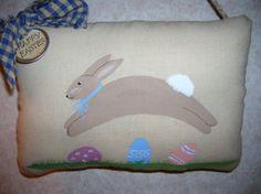 Primitive Hand Painted Easter Bunny Folk Art by auntiemeowsprims, $8.99