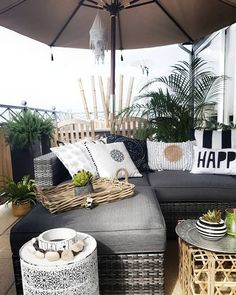 cozy farmhouse patio suitable for relaxing with your family 4 Outdoor Furniture Design, Balcony Furniture, Furniture Ideas, Ikea Pinterest, Balkon Design, Deck Decorating, Back Patio, Ficus, Home And Deco