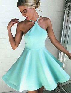 Halter Mint Homecoming Dress, Short Party Dress, Backless
