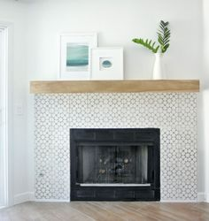 DIY Fireplace Makeover --- love the cement tiles!