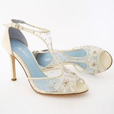 """Bella Belle Wedding Shoes. Paloma Ivory Beaded Wedding Shoes. Romantic wedding shoes with vintage styling. Delicately embroidered mesh with beads & crystals finished with a silk heel. Can we say, """"Shoegasm'?"""