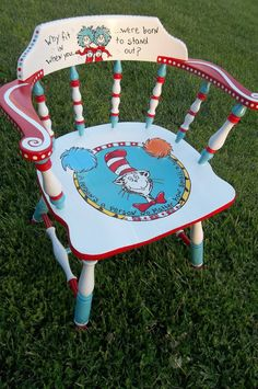 Whimsical Dr. Seuss chair painted by Jody Rife.